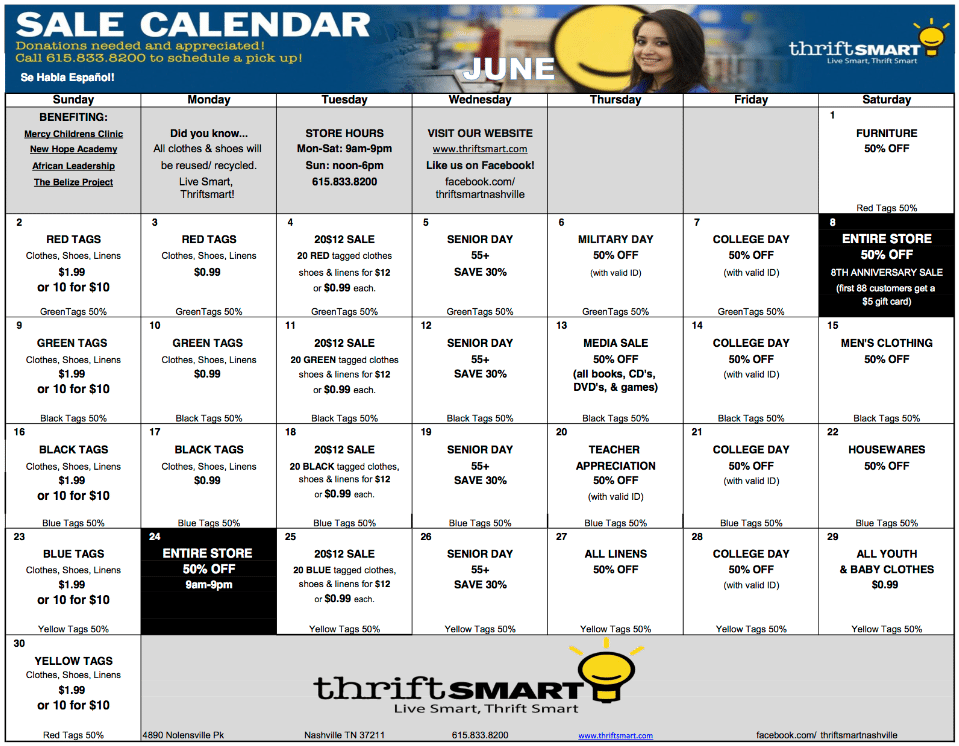 June Calendar Nashville : June calendar dates and deals at thriftsmart nashville