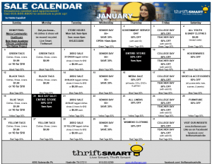 2014 January Calendar for ThriftSmart