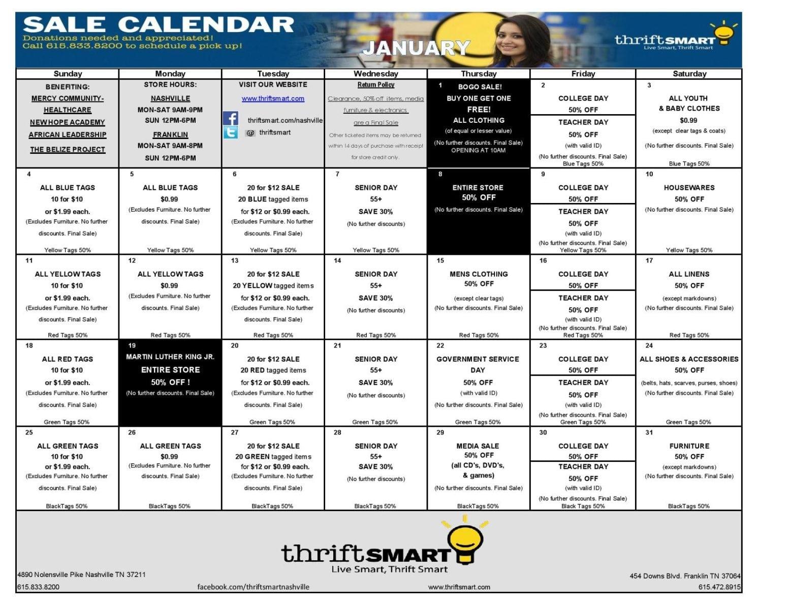 Calendar For Sale : January sale calendar thriftsmart
