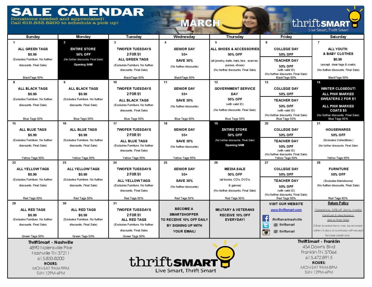 Calendar For Sale : Thrift smart march sales calendar