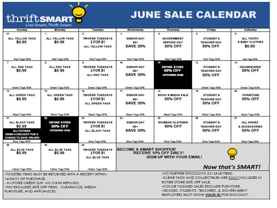 June Calendar Nashville : Thrift smart june calendar